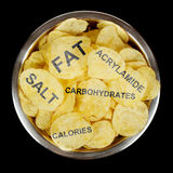 Junk food concept. Potato chips and text showing unhealthy ingredients Stock Photography