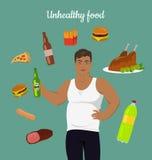 Junk Food Consumption. Man Before Weight Loss. Stock Photos