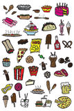 41 junk food doodles Royalty Free Stock Photography