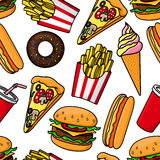 Junk food and drinks retro seamless pattern Royalty Free Stock Photography