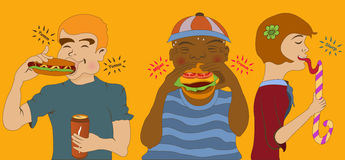 Junk food eating. Cartoon vector illustration of kids eating junk food Royalty Free Stock Images