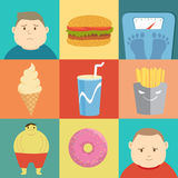 Junk Food. Fat boy,infographic of food Royalty Free Stock Images
