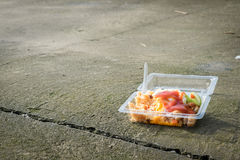 Junk food on the floor. Junk food, fried rice, fried egg and sausage in plastic box on the floor Royalty Free Stock Photos