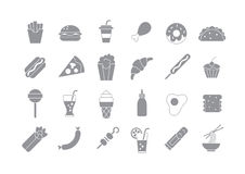 Junk food gray vector icons. Set of 24 Junk food gray vector icons Stock Photo