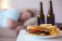 Greasy junk food disaster going around. Junk food. Greasy nasty hamburger with fries lying on a plate Royalty Free Stock Photo