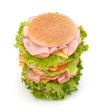 Junk food hamburger. Big appetizing fast food sandwich with lettuce, tomato, smoked ham and cheese isolated on white background. Junk food hamburger Royalty Free Stock Photo