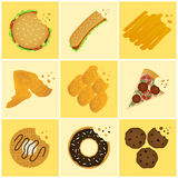 Junk food icon. Nine junk food bite off icon set Royalty Free Stock Photography