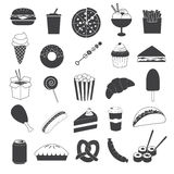 Junk Food Icons Collection. 20 Icons design of black junk food or fast food Stock Illustration