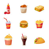 Junk Food Items Set. Of Realistic Design Vector Stickers  On White Background Royalty Free Stock Photos