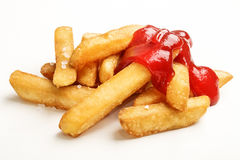 Junk food with ketchup on white Royalty Free Stock Photo