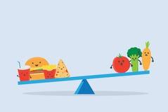 Junk Food más pesado que verdura en escalas de la balanza ilustración del vector