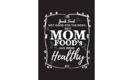 Junk Food no bueno para el cuerpo, pero las comidas de la mamá tiene más sano stock de ilustración