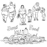 Junk food and obese people Royalty Free Stock Image