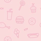 Junk food pink seamless pattern Royalty Free Stock Photography