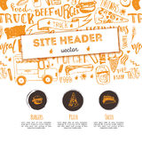 Junk food restaurant vector site header template. Festival promotion design with lettering and icons. Food truck doodle. Hand drawn sketch Royalty Free Stock Photos