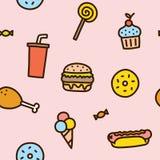 Junk food seamless pattern Royalty Free Stock Photos