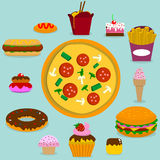 Junk food. Set in vector Royalty Free Stock Photo