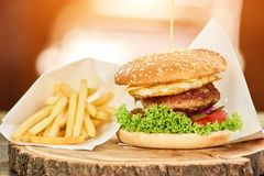 Junk food set on wooden plate. French fries and hamburhger, close up Royalty Free Stock Photos