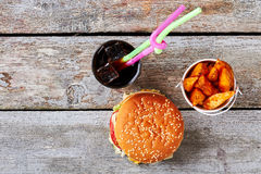 Junk food from top view. Stock Images