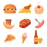 Junk food vector collection Royalty Free Stock Images