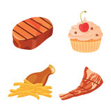 Junk food vector collection. Fastfood is bad Stock Image