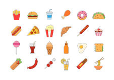 Junk food vector icons set. Set of 24 Junk food vector icons Royalty Free Stock Image