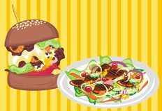 Junk Food VS Healthy Food. Avaliable in CDR. CMYK. Layered vector illustration