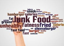 Junk Food word cloud and hand with marker concept. On white background royalty free illustration