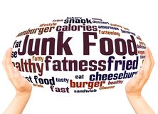 Junk Food word cloud hand sphere concept. On white background royalty free illustration