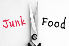 Junk and Food words with scissors in middle. Junk and Food words with scissors Royalty Free Stock Photography