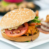 Junk food yummy Meat hamburger on table Stock Image