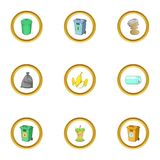 Junk icons set, cartoon style Royalty Free Stock Image
