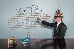 Junk Mail Protection concept with vintage businessman Royalty Free Stock Photos