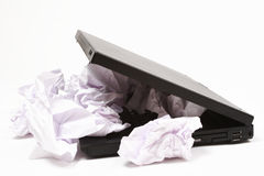 Junk Notes and a Laptop Royalty Free Stock Photo