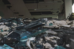 Junk pile of old building. Junk pile of destroyed old building Royalty Free Stock Photo