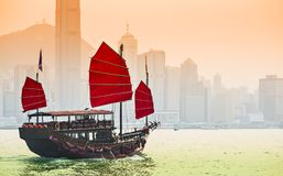 Junk Ship in Hong Kong. Junk Ship sails in Victoria Harbor in Hong Kong, China Stock Photography