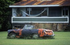 A junk sports car decaying in Hawaii Stock Photo