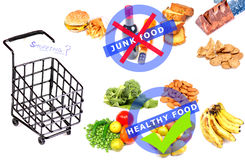 Junk vs healthy food. Beautiful concept shot of junk vs healthy food Stock Photography