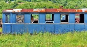Junk wagon train. Old rusty wagon train in a junk yard Royalty Free Stock Image