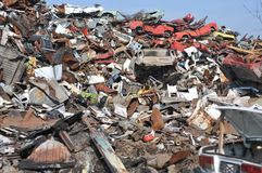 Junk yard. Pile of scrap metal Royalty Free Stock Image