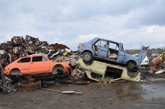 Junk yard. Pile of scrap metal Stock Photo