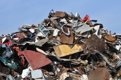 Junk yard. Pile of scrap metal Stock Photography