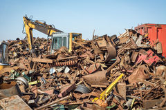 Junk Yard. With blue sky Royalty Free Stock Photos