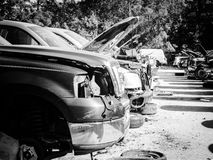 Junk yard cars and trucks Royalty Free Stock Photo