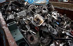 Junk yard with metal waste. Junk yard with heap of metal waste Royalty Free Stock Photos
