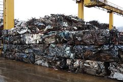 Junk yard with metal waste. Junk yard with heap of metal waste Royalty Free Stock Image