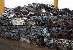 Junk yard with metal waste. Junk yard with heap of metal waste Stock Images