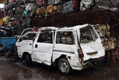 Junk yard with metal waste. Junk yard with heap of metal waste Stock Photo