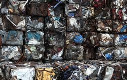 Junk yard with metal waste. Junk yard with heap of metal waste Royalty Free Stock Photo