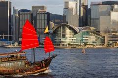 Junkboat and  Hong Kong city 2014 Stock Image